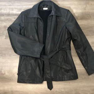 Black Leather look trench style jacket, lined